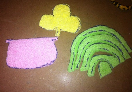 St. Patrick's Day Sponge Paintings - cut out the shapes