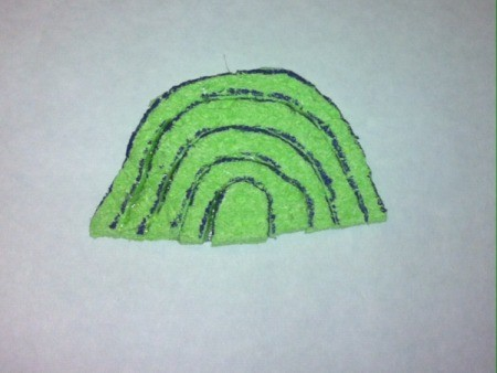 St. Patrick's Day Sponge Paintings  -  cut the rainbow apart and glue back together