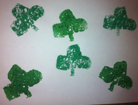 St. Patrick's Day Sponge Paintings - six stamped shamrocks