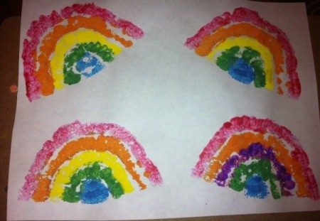 St. Patrick's Day Sponge Paintings - stamped rainbows