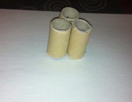 Shamrock Stencil Painting - hot glue the three longer tubes together to make a shamrock shape