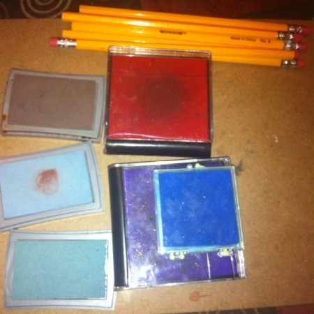 Decorate Greeting Cards with Pencil Erasers as Stamps  - pencils and stamps