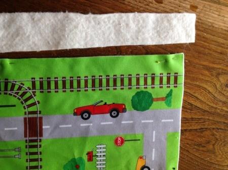 Fabric Panel Playmat - excess batting cut away