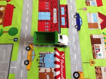 Fabric Panel Playmat - toy dump truck on road