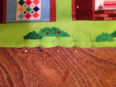 Fabric Panel Playmat - pin seam opening and blind stitch closed