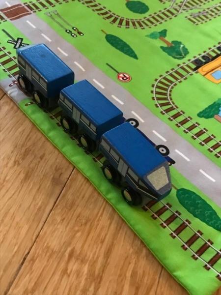 Fabric Panel Playmat - closeup of train on track side