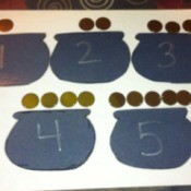 Pot of Gold Number Matching - competed pots and coins for 1 - 5