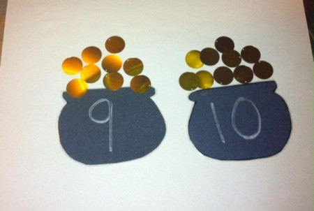 Pot of Gold Number Matching - the original numbers can be removed or higher ones add to the back side