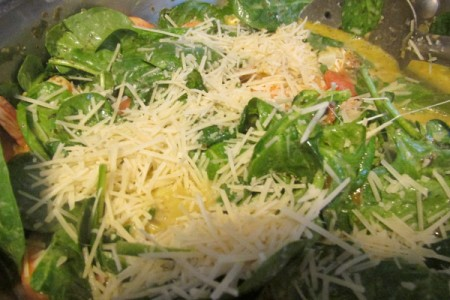 parmesan added to dish