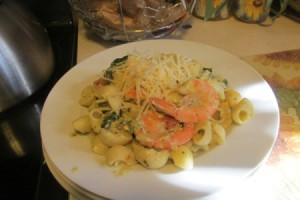 Shrimp Pasta with Pesto Sauce on plate