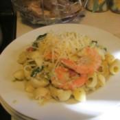 Shrimp Pasta with Pesto Sauce on plate