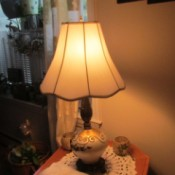 Rewiring a Living Room Lamp - finished lamp with shade and turned on
