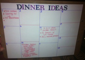 DIY Weekly Meal Planner - dinner