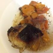 Honey Balsamic Chicken and veggies on plate