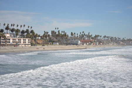 The ocean waves at Oceanside Pier, CA.