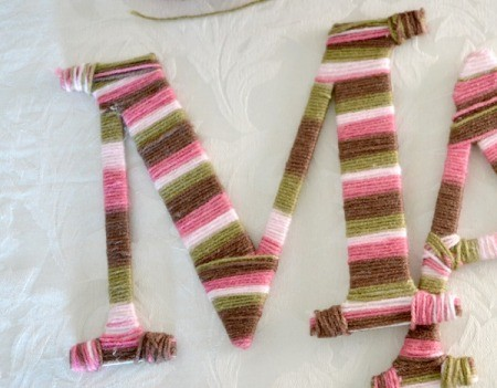 Yarn Wrap Letters and Hanger - wrapped letters