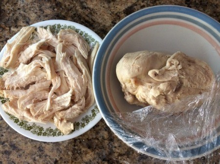 Cooked and shredded chicken.