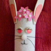 Upcycled Easter Bunny Craft - closeup of finished bunny