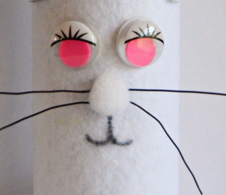Upcycled Easter Bunny Craft - use pen to draw on the mouth