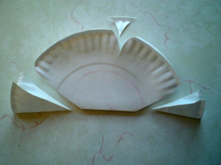 Make a Spring Butterfly from a Paper Plate - cut out pieces as shown