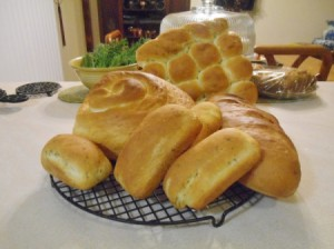 Freshly baked loaves in different shapes and sizes.