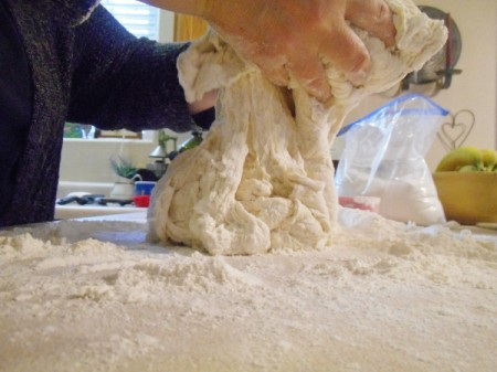 Mom's Herb BreadBread dough being kneaded.