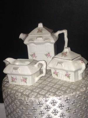 Value of Tea Set - white squarish teapot, creamer, and sugar bowl