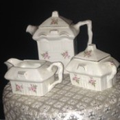 Value of Tea Set - white squarish teapot, creamer, and sugar bowl