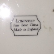 A marking on Lawrence fine bone china made in England.