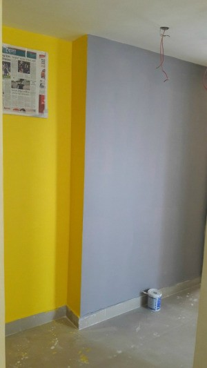 Decorating a Small Foyer bright yellow wall and light grey one