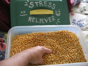 A tub of popcorn as a stress relief.