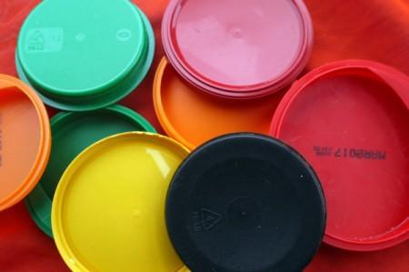 Statement Pendant Necklace - assortment of plastic lids