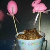 Gardener's Easter Basket - Easter decorated flower pot with bulbs and two Easter plant pokes
