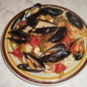 Mussels with Garlic and Tomato on plate