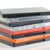 A stack of DVD cases on a white background.