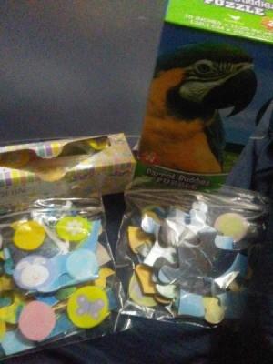 Puzzle pieces in ziptop bags.