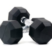 A pair of dumbbell hand weights.