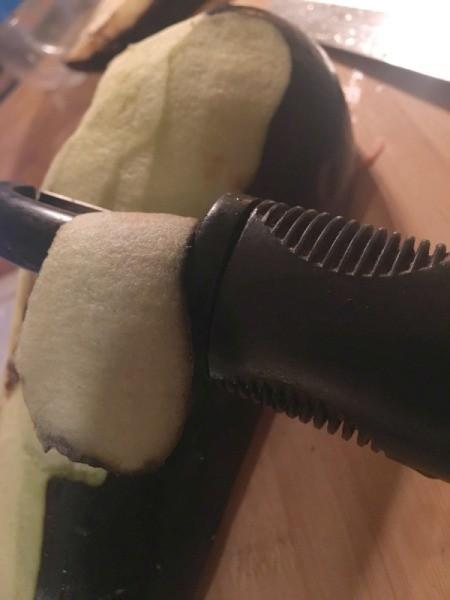 peeling eggplant