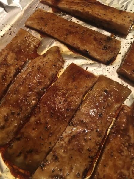 """Crispy Eggplant """"Bacon"""" on baking pan"""
