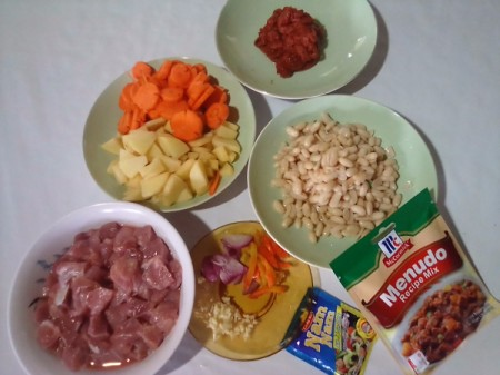 Pork menudo ingredients.