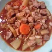 A finished bowl of pork menudo.