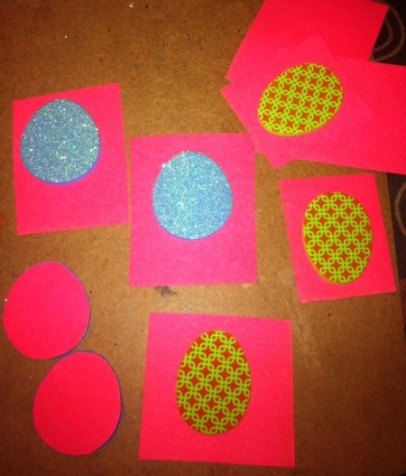 Easter Tic-Tac-Toe - attaching foam eggs to construction paper