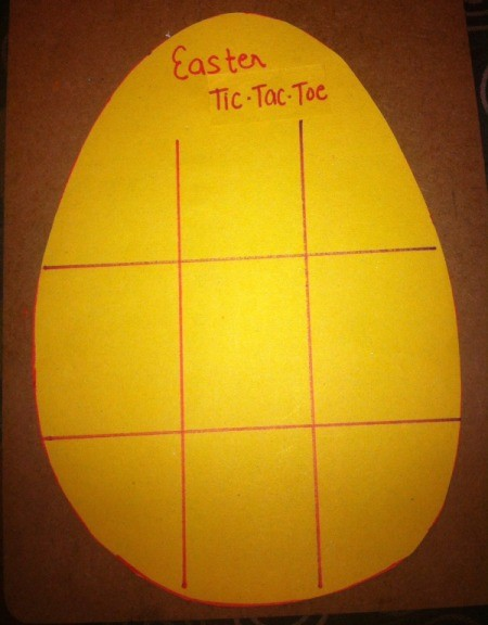Easter Tic-Tac-Toe - drawn lines and title added to the game board
