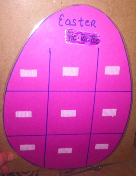 Easter Tic-Tac-Toe - Velcro strips on game board