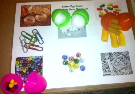 Easter Egg Sound Matching Activity - child shakes egg and guesses what is inside