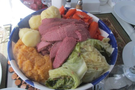 Corned Beef & Cabbage Dinner on plate.