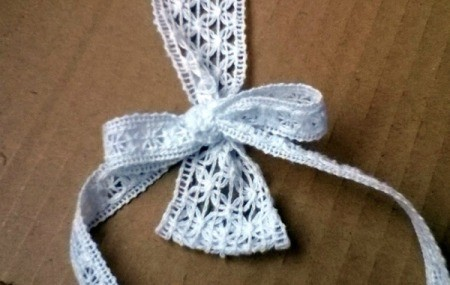 Easy Lace Bookmark -  adjust bow until you are satisfied