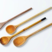 A collection of wooden spoons.