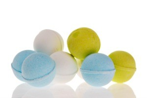 A collection of brightly colored bath bombs.