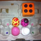 Egg Carton Pre-K Math - using a die and counting